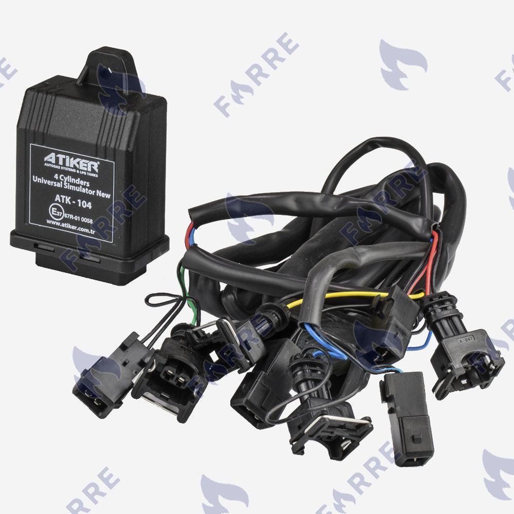Эмулятор форсунок Atiker 4 цилиндра c разьемами Europa/Bosch